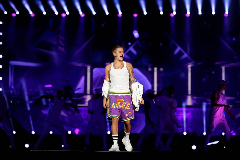 Dubai, United Arab Emirates, May 06, 2017: Justin Bieber performs in concert on Saturday, May. 06, 2017, at the Autism Rocks Arena in Dubai. Chris Whiteoak for The National *** Local Caption ***  CW_0605_JustinBieber_31.JPG
