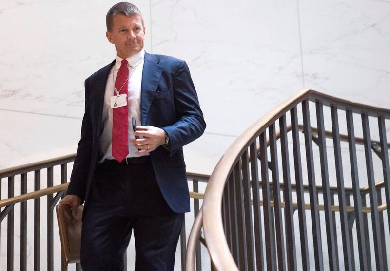 Erik Prince, former Navy Seal and founder of private military contractor Blackwater USA, arrives to testify during a closed-door House Select Intelligence Committee hearing on Capitol Hill in Washington, DC, November 30, 2017. / AFP PHOTO / SAUL LOEB