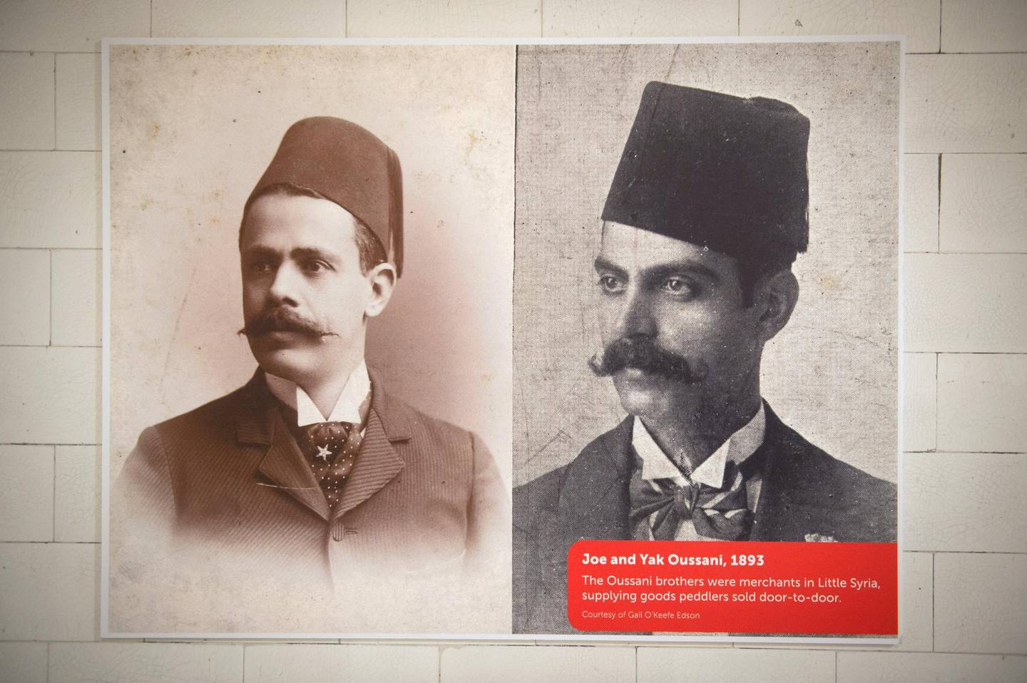 """Photographs of the Oussani brothers, Joe and Yak, on display at the exhibition, """"Little Syria, NY, An Immigrant Community's Life & Legacy"""" on view from October 1, 2016 - January 9, 2017 at the Ellis Island National Museum of Immigration, September 27, 2016, in New York. (Photo by Bryan R. Smith / AFP)"""