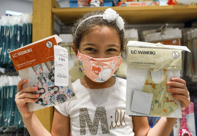 Abu Dhabi, United Arab Emirates, August 23, 2020.   Patricia-6 with her newly purchased face masks  at the LC Waikiki shop in Al Wahda Mall, Abu Dhabi.Victor Besa /The NationalSection:  NAReporter: