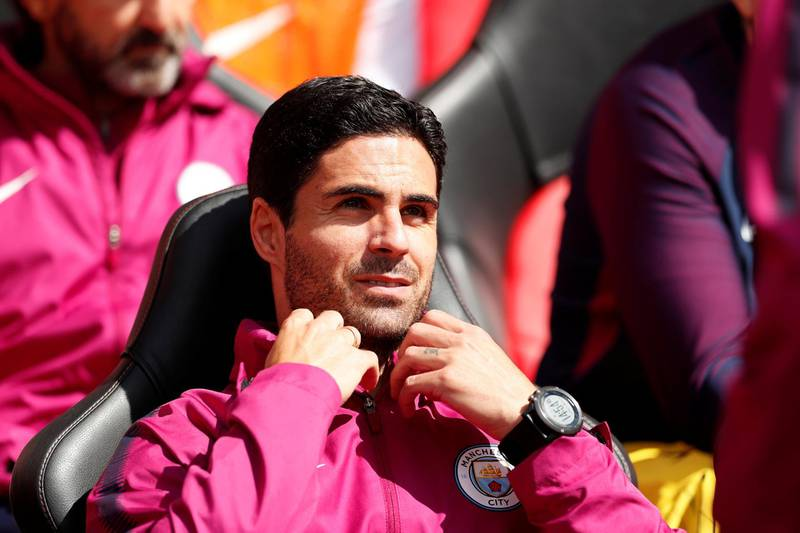 """Soccer Football - Premier League - Southampton vs Manchester City - St Mary's Stadium, Southampton, Britain - May 13, 2018   Manchester City co assistant coach Mikel Arteta   Action Images via Reuters/John Sibley    EDITORIAL USE ONLY. No use with unauthorized audio, video, data, fixture lists, club/league logos or """"live"""" services. Online in-match use limited to 75 images, no video emulation. No use in betting, games or single club/league/player publications.  Please contact your account representative for further details."""