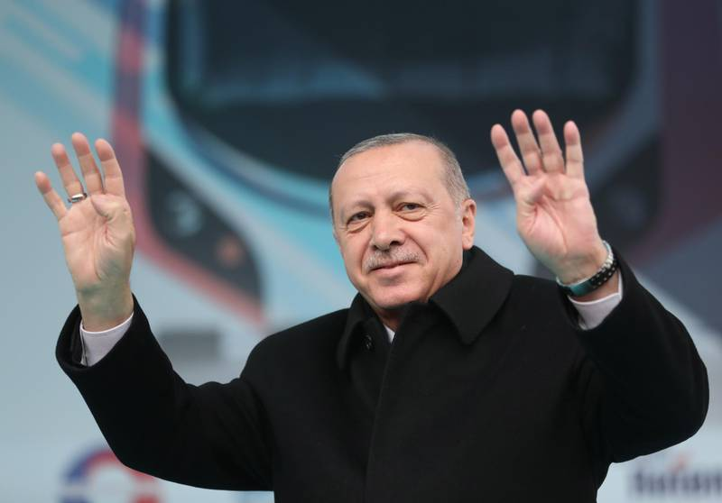 epa07431174 Turkish President Recep Tayyip Erdogan attends a local election rally of his Justice and Development Party (AK Party) and an opening ceremony of Gebze-Halkali suburban train line in Istanbul, Turkey, 12 March 2019. The Gebze-Halkali suburban line is 76-kelometer- long and it will take 115 minutes to pass through the Eurasia tunnel.  Local elections in Turkey's capital and the country's overall 81 provinces are scheduled for 31 March 2019.  EPA/ERDEM SAHIN