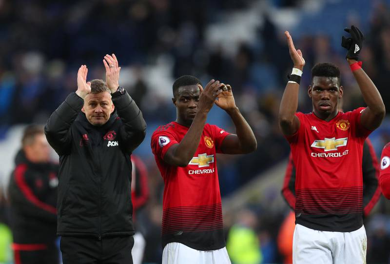 LEICESTER, ENGLAND - FEBRUARY 03: Ole Gunnar Solskjaer interim manager of Manchester United with Eric Bailly and Paul Pogba after the Premier League match between Leicester City and Manchester United at The King Power Stadium on February 03, 2019 in Leicester, United Kingdom. (Photo by Catherine Ivill/Getty Images)
