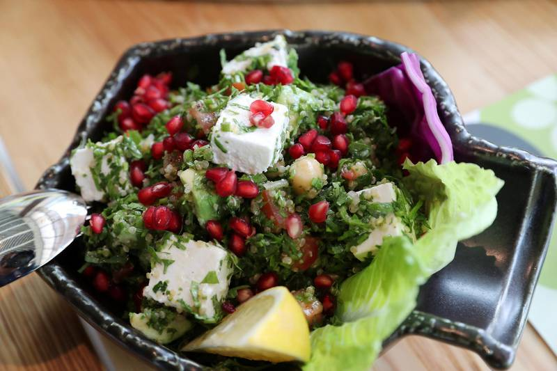 Quinoa tabbouleh at the Grand Beirut restaurant at Dubai Digital Park in Dubai Silicon Oasis in Dubai on June 22,2021. Pawan Singh / The National. Story by Janice Rodrigues
