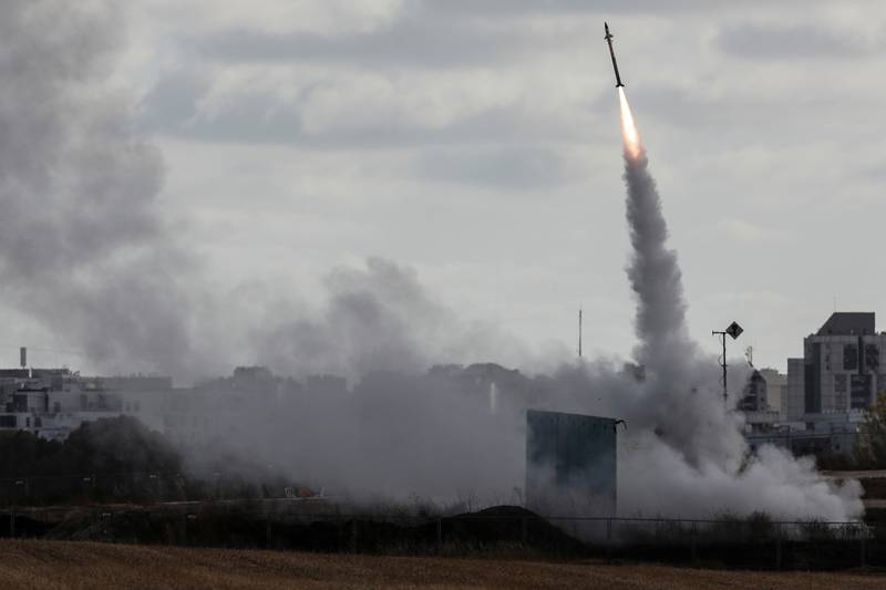 Israel's Iron Dome anti-missile system fires to intercept a rocket launched from the Gaza Strip towards Israel, as seen from Ashdod, Israel May 17, 2021. REUTERS/Ronen Zvulun
