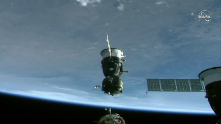 An image that illustrates this article Soyuz carrying Russian film crew returns to Earth