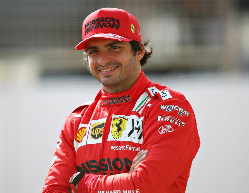 BAHRAIN, BAHRAIN - MARCH 12: Carlos Sainz of Spain and Ferrari looks on from the grid during Day One of F1 Testing at Bahrain International Circuit on March 12, 2021 in Bahrain, Bahrain. (Photo by Joe Portlock/Getty Images)