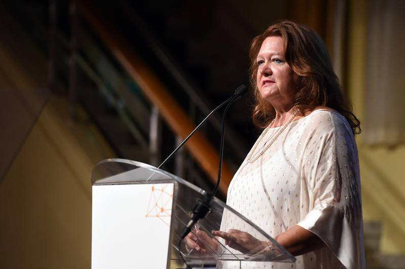 Gina Rinehart, billionaire and chairman of Hancock Prospecting Pty, pauses during the International Mining And Resources Conference (IMARC) in Melbourne, Australia, on Thursday, Nov. 12, 2015. Rinehart's Roy Hill mine in the ore-rich Pilbara will start exports before the year ends, according to a statement last month. Photographer: Carla Gottgens/Bloomberg *** Local Caption *** Gina Rinehart