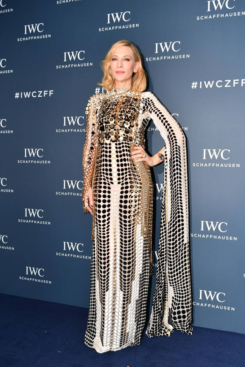 """ZURICH, SWITZERLAND - OCTOBER 05: Australian actor and IWC brand ambassador Cate Blanchett attends the IWC Private Dinner held at Haute on October 05, 2019 in Zurich, Switzerland. During the event, Australian actor and IWC brand ambassador Cate Blanchett presented the 5th Filmmaker Award. The film """"Wanda, my miracle"""", directed by Bettina Oberli and produced by Lukas Hobi and Reto Schaerli, was declared the winner by the jury. The award, which is worth CHF 100,000, supports outstanding Swiss film projects that are in the production or post-production stage. (Photo by Harold Cunningham/Getty Images for IWC)"""