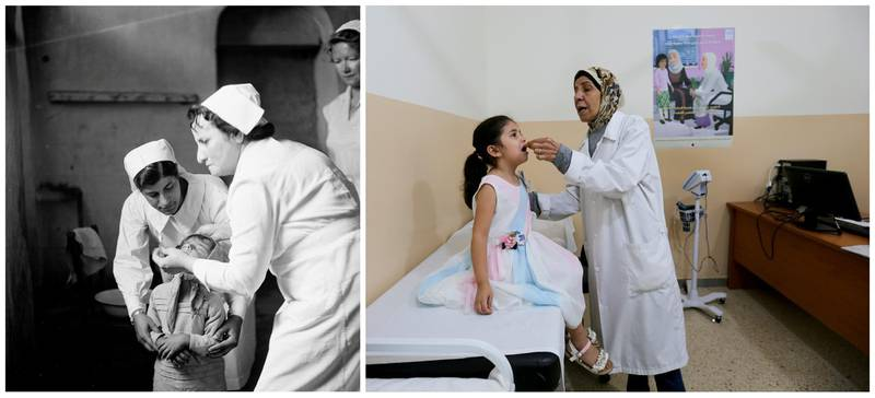 """A combination picture shows nurses treating a child at a UNRWA health centre for Palestinian refugees in Beirut, Lebanon, in this handout picture believed to be taken in 1952. UNRWA/Handout via REUTERS (L) and a Palestinian refugee girl receives a vaccination at a UNRWA clinic at Burj al-Barajneh refugee camp in Beirut, Lebanon, June 23, 2019. REUTERS/Aziz Taher  ATTENTION EDITORS - THIS IMAGE WAS PROVIDED BY A THIRD PARTY. NO RESALES. NO ARCHIVES SEARCH """"UNRWA COMBOS"""" FOR THIS STORY. SEARCH """"WIDER IMAGE"""" FOR ALL STORIES."""