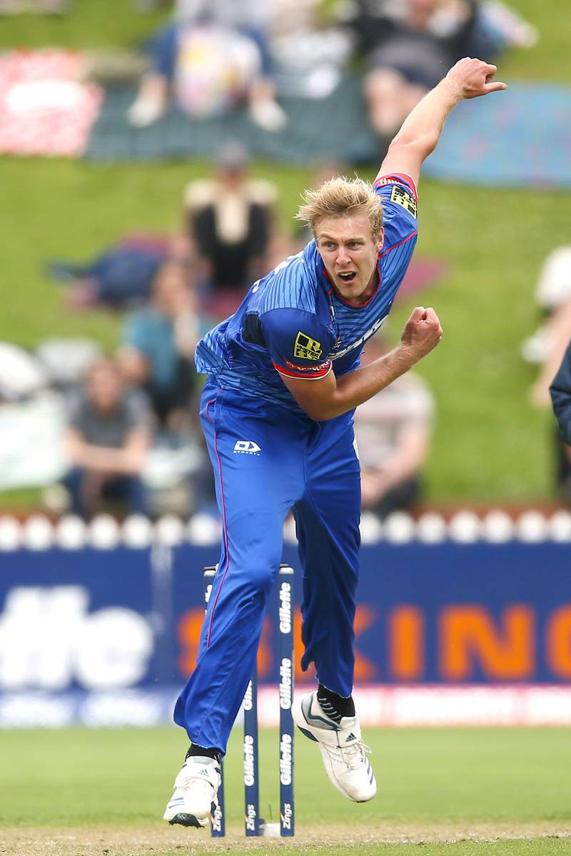 WELLINGTON, NEW ZEALAND - JANUARY 19:  Kyle Jamieson of Auckland bowls during the Super Smash Men's Final between the Wellington Firebirds and Auckland Aces at Basin Reserve on January 19, 2020 in Wellington, New Zealand. (Photo by Hagen Hopkins/Getty Images)