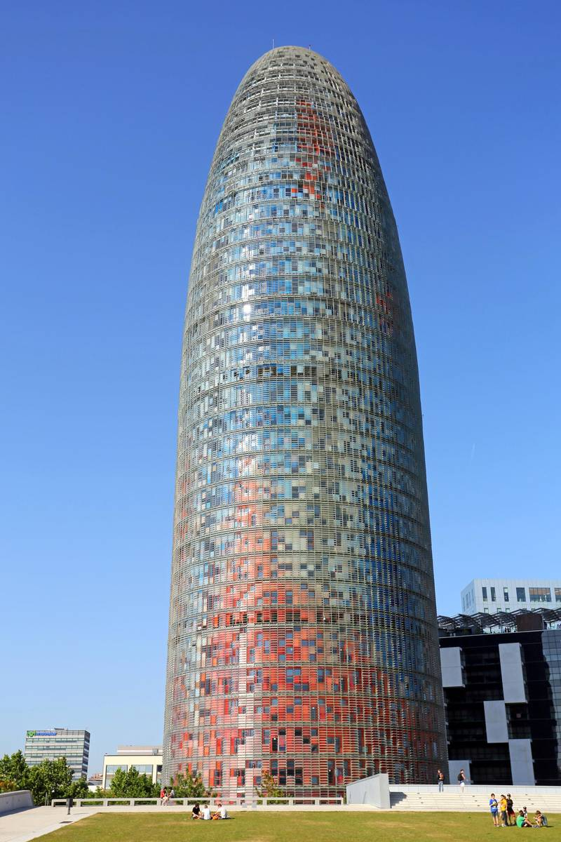 D9P52C Torre Agbar modern tower office building in Glories, Barcelona, Spain