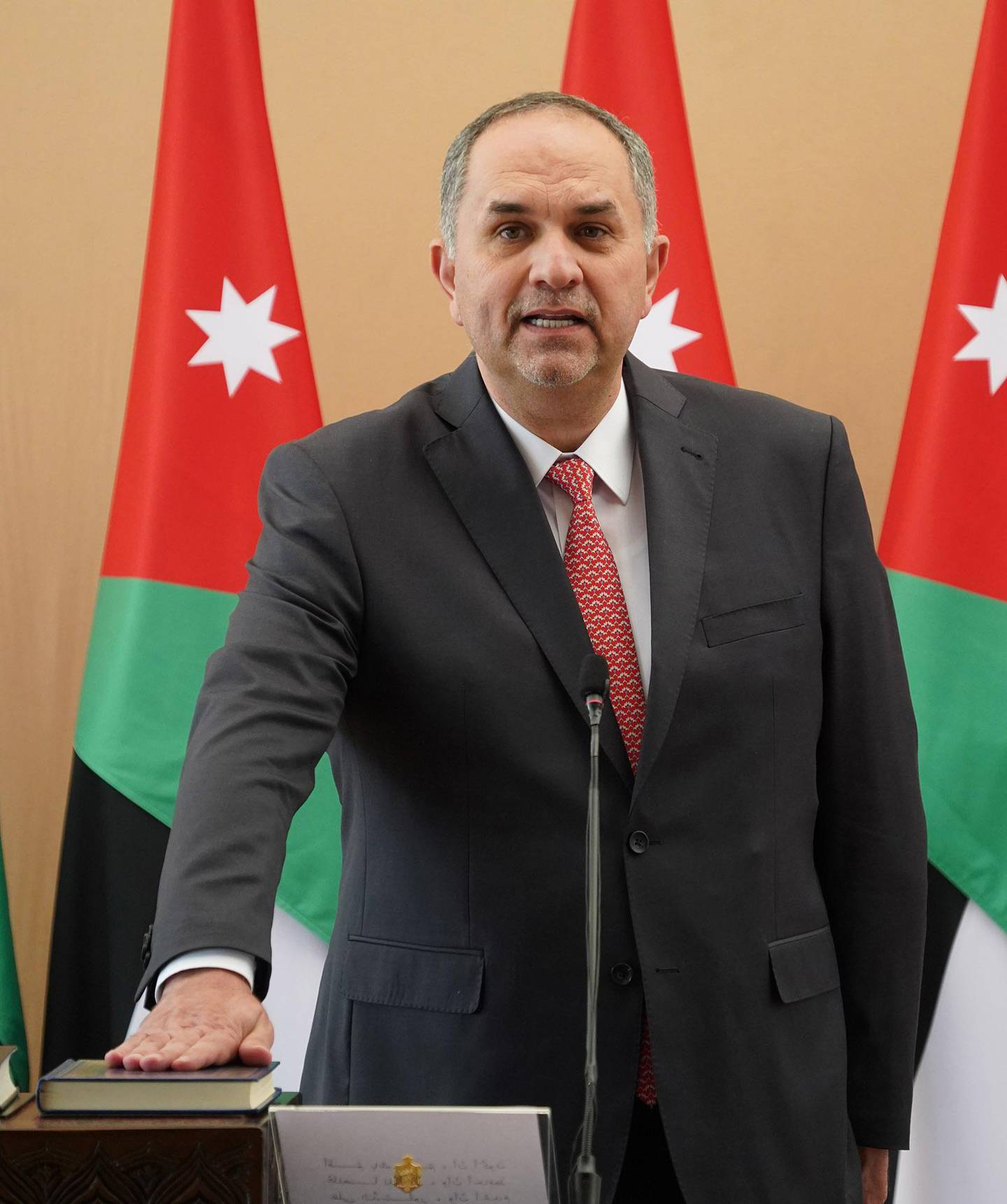 King Abdullah II swears in Bassam Talhouni swears in as Minister of Justice at Al Husseiniya Palace on October 12, 2020. Courtesy Royal Hashemite Court