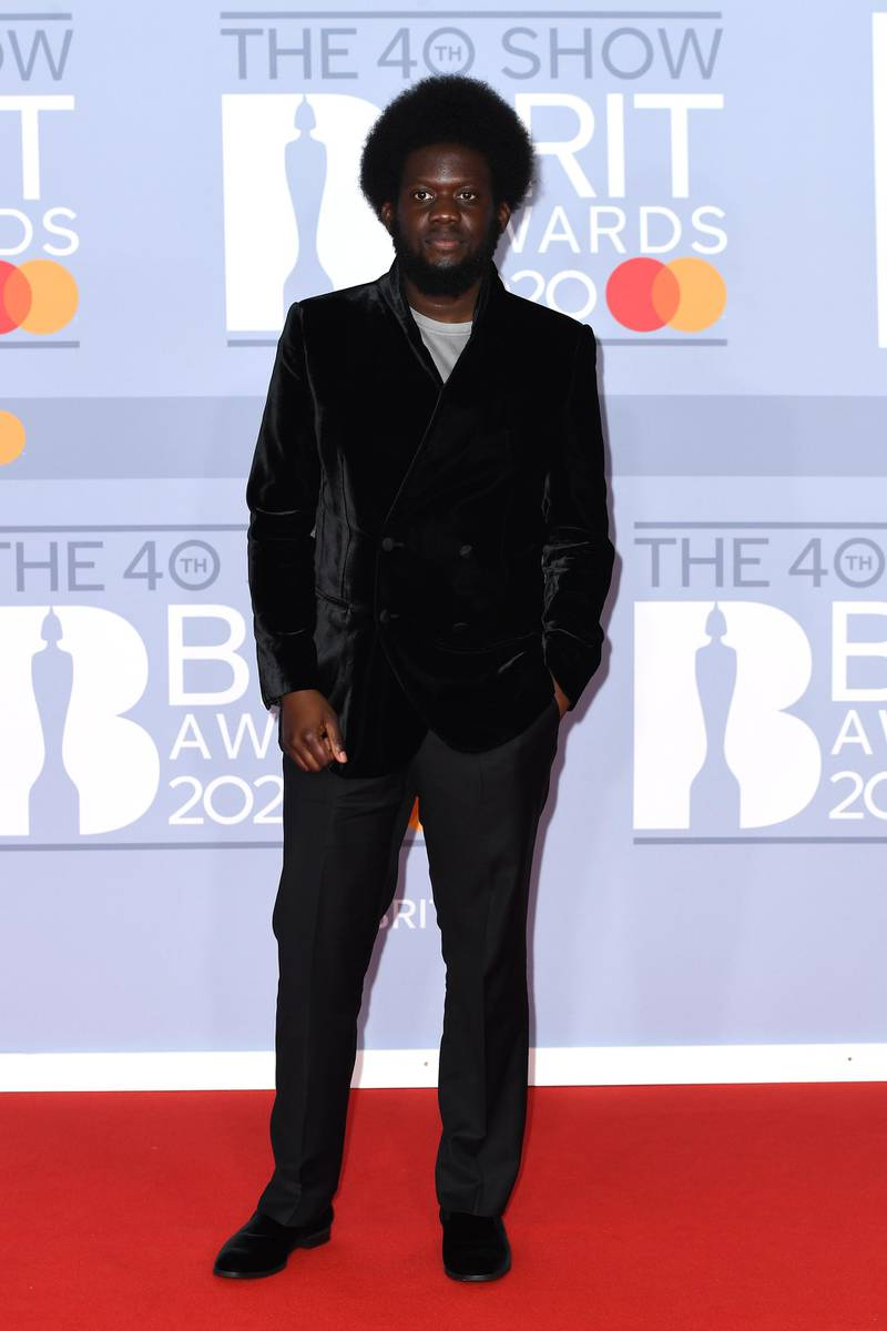 LONDON, ENGLAND - FEBRUARY 18: (EDITORIAL USE ONLY) Michael Kiwanuka attends The BRIT Awards 2020 at The O2 Arena on February 18, 2020 in London, England. (Photo by Gareth Cattermole/Getty Images)
