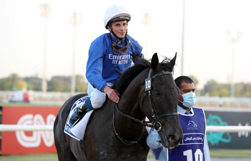 DUBAI , UNITED ARAB EMIRATES , MARCH 27  – 2021 :-    REBEL'S ROMANCE  (IRE) ridden by  WILLIAM BUICK ( no 10 ) won the 5th horse race UAE Derby 1900m Dirt   during the Dubai World Cup held at Meydan Racecourse in Dubai. ( Pawan Singh / The National ) For News/Sports/Instagram/Big Picture. Story by Amith
