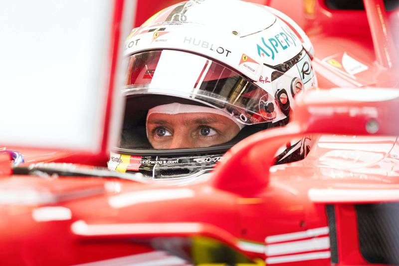 Abu Dhabi, United Arab Emirates, November 24, 2017:    Sebastian VettelÊof Germany and Ferrari during practise for the Abu Dhabi Formula One Grand Prix at Yas Marina Circuit in Abu Dhabi on November 24, 2017. Christopher Pike / The National  Reporter: Graham Caygill Section: Sport