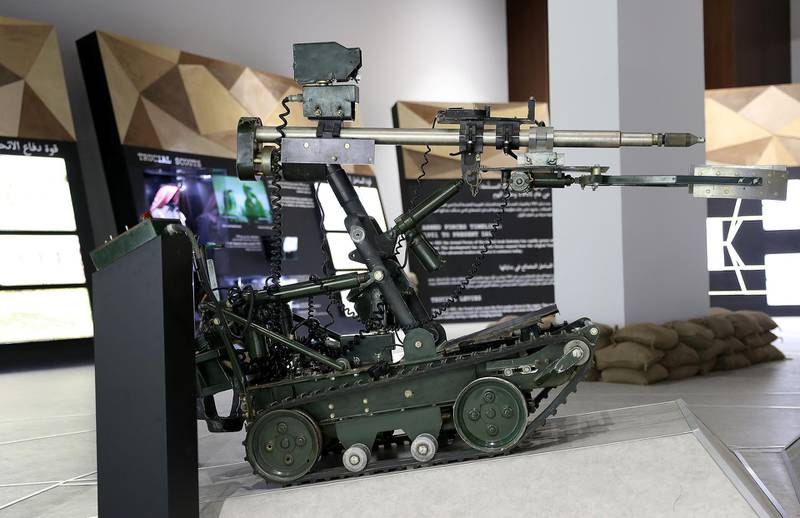 DUBAI , UNITED ARAB EMIRATES , JAN 25 – 2018 :- Wheel Barrow Robot Mark 8 mine clearing vehicle used in the Amiri Guard and in field engineering from 1988 to 1995 on display at the UAE Armed Forces Exhibition held at Etihad Museum in Dubai. (Pawan Singh / The National) For Arts & Life. Story by John Dennehy