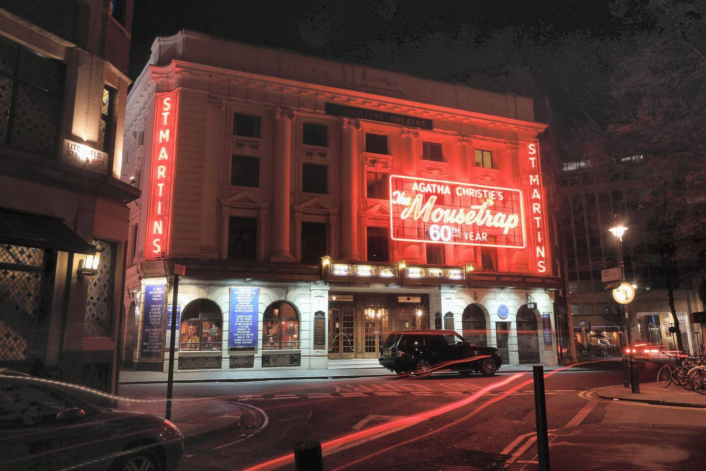 LONDON, ENGLAND - MARCH 29:  St Martins Theatre in the West End showing Agatha Christie's 'The Mousetrap', which is the longest running show in the world, is illuminated at night on March 29, 2012 in London, England.  (Photo by Oli Scarff/Getty Images)