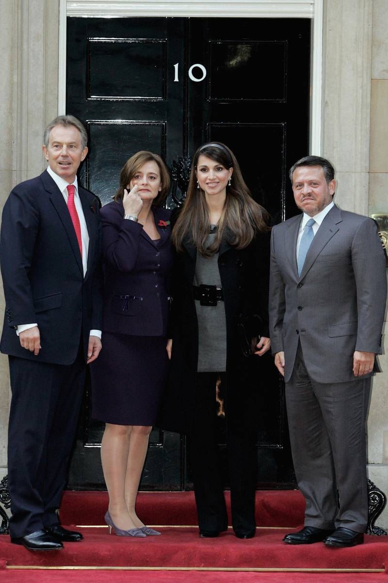 LONDON - NOVEMBER 06:  British Prime Minister Tony Blair and his wife Cherie pose with King Abdullah and Queen Rania of Jordan on the steps of 10 Downing Street on November 6, 2006 in London, England. King Abdullah and Queen Rania will meet British Chancellor Gordon Brown, and HRH Queen Elizabeth II on their visit. (Photo by Bruno Vincent/Getty Images)