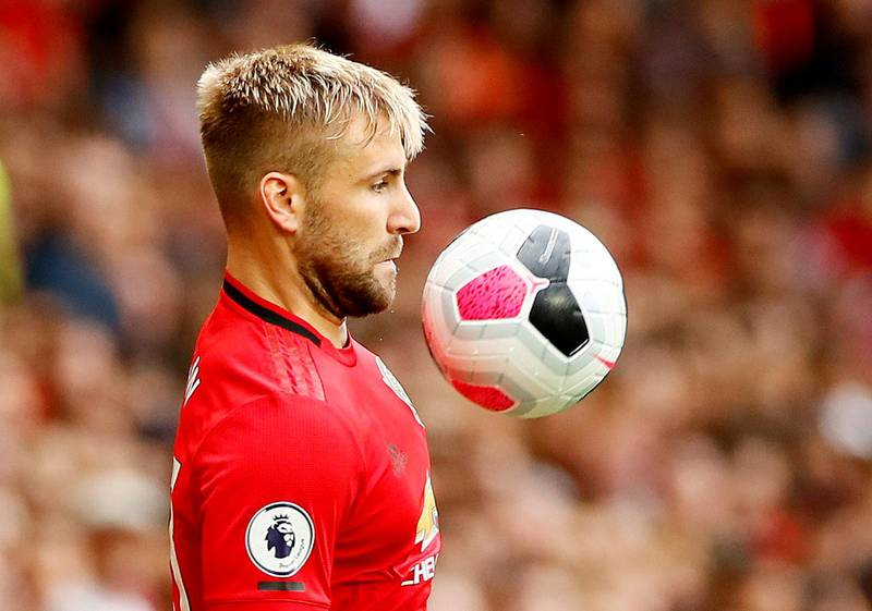 """FILE PHOTO: Soccer Football - Premier League - Manchester United v Chelsea - Old Trafford, Manchester, Britain - August 11, 2019  Manchester United's Luke Shaw in action  Action Images via Reuters/Jason Cairnduff  EDITORIAL USE ONLY. No use with unauthorized audio, video, data, fixture lists, club/league logos or """"live"""" services. Online in-match use limited to 75 images, no video emulation. No use in betting, games or single club/league/player publications.  Please contact your account representative for further details./File Photo"""