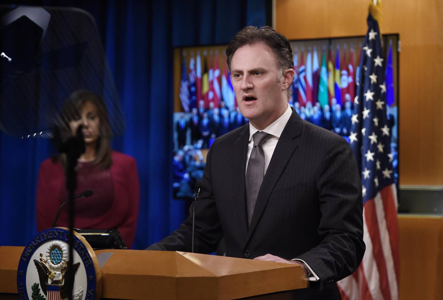 Nathan Sales, ambassador-at-large and coordinator for counterterrorism at the State Department speaks during a briefing at the State Department in Washington, DC, on November 14, 2019. - US Secretary Mike Pompeo hosted the Global Coalition to Defeat ISIS Small Group Ministerial, at the State Department. (Photo by Olivier Douliery / AFP)