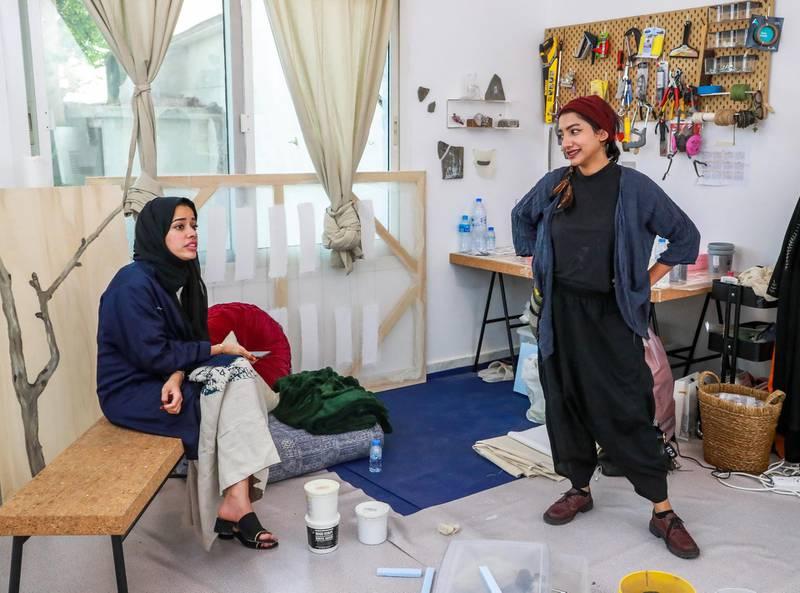 Abu Dhabi, U.A.E., June 6, 2018.    Bait 15 Studio and Art work space.  (L-R)  Afra Al Dhaheri and Maitha Abdalla.Victor Besa / The NationalReporter:   Melissa Gronlund  Section:  Arts & Culture