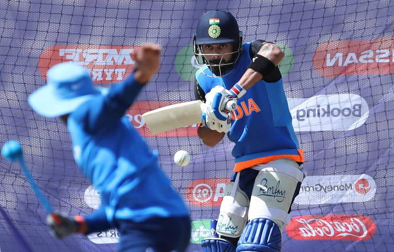 India's captain Virat Kohli bats in the nets during a training session ahead of their Cricket World Cup match against South Africa at Ageas Bowl in Southampton, England, Saturday, June 1, 2019. (AP Photo/Aijaz Rahi)