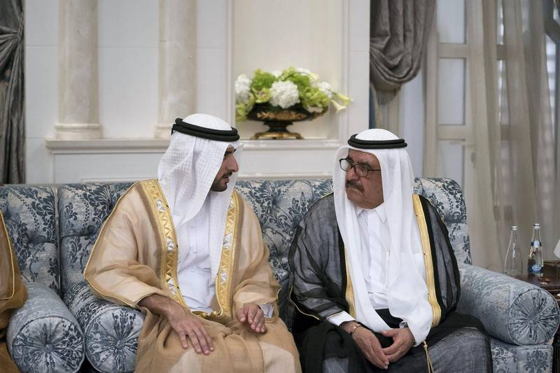 ABU DHABI, UNITED ARAB EMIRATES - September 02, 2017: HH Sheikh Hamdan bin Mohamed Al Maktoum, Crown Prince of Dubai (L) speaks with HH Sheikh Hamdan bin Rashid Al Maktoum, Deputy Ruler of Dubai and UAE Minister of Finance (R), during an Eid Al Adha reception at Mushrif Palace.  ( Mohamed Al Hammadi / Crown Prince Court - Abu Dhabi ) ---