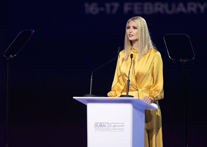 DUBAI, UNITED ARAB EMIRATES. 16 FEBRUARY 2020. Ivanka Trump at Global Women's Forum Dubai.(Photo: Reem Mohammed/The National)Reporter:Section: