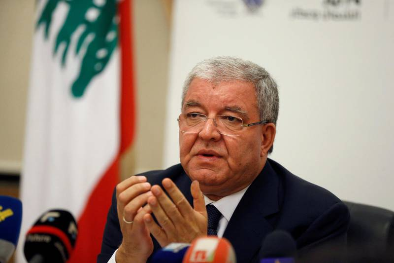 FILE PHOTO: Lebanon's Interior Minister Nohad Machnouk talks after closing the polling stations during Beirut's municipal elections in the Interior ministry in Beirut, Lebanon May 8, 2016. REUTERS/Mohamed Azakir/File Photo
