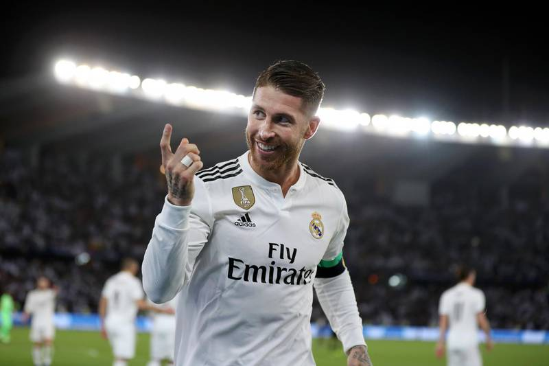 ABU DHABI, UNITED ARAB EMIRATES - DECEMBER 22:  Sergio Ramos of Real Madrid celebrates after scoring his team's third goal during the FIFA Club World Cup UAE 2018 Final between Al Ain and Real Madrid at the Zayed Sports City Stadium on December 22, 2018 in Abu Dhabi, United Arab Emirates.  (Photo by Francois Nel/Getty Images)