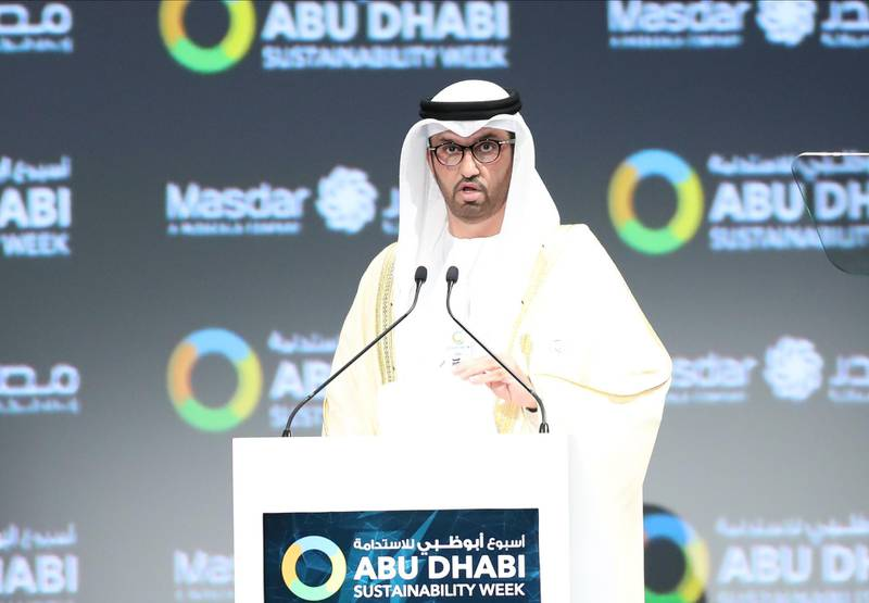 epa08124156 Sultan Ahmed Al Jaber, Minister of State in the United Arab Emirates, Director-General and CEO of the Abu Dhabi National Oil Company (ADNOC Group), Chairman of Masdar and Chairman of UAE National Media Council delivers a speech during the opening ceremony of the World Future Energy Summit 2020 (WFES) in Abu Dhabi, United Arab Emirates, 13 January 2020.  EPA/ALI HAIDER