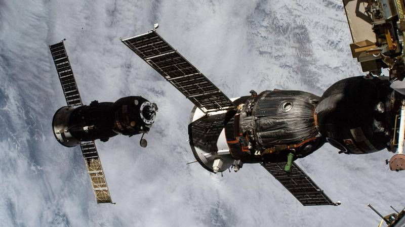 iss064e030164 (Feb. 9, 2021) --- An external high definition camera captured this image of the ISS Progress 76 resupply ship backing away from the International Space Station after it had undocked moments earlier from the Pirs docking compartment. In the foreground is the Soyuz MS-17 crew ship docked to the Rassvet module. Nasa