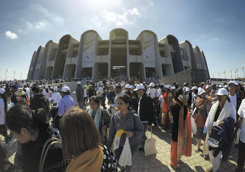 ABU DHABI , UNITED ARAB EMIRATES , February 05 – 2019 :- People coming out of the stadium after the holy mass at the Zayed Sports City in Abu Dhabi. ( Pawan Singh / The National ) For News/Instagram/Big Picture.