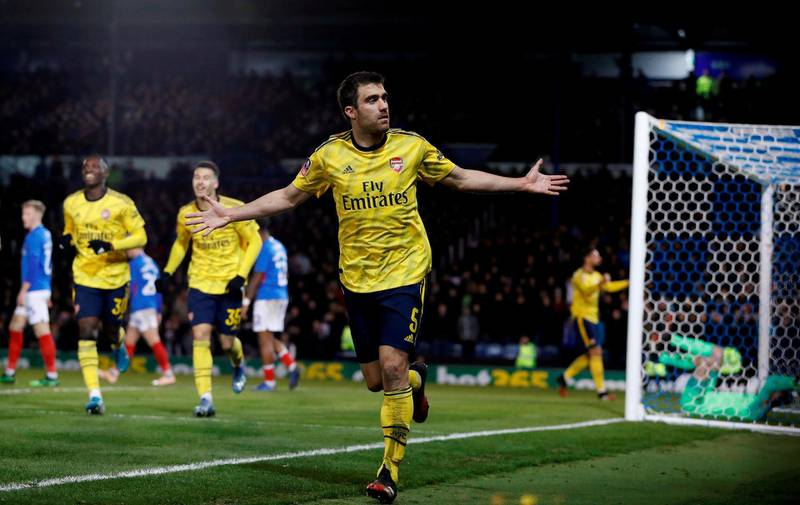 Soccer Football - FA Cup Fifth Round - Portsmouth v Arsenal - Fratton Park, Portsmouth, Britain - March 2, 2020  Arsenal's Sokratis Papastathopoulos celebrates scoring their first goal   REUTERS/Paul Childs     TPX IMAGES OF THE DAY