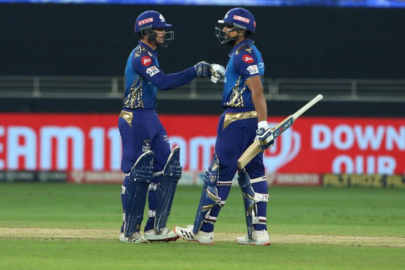Quinton de Kock of Mumbai Indians and Rohit Sharma captain of Mumbai Indians during the final of season 13 of the Dream 11 Indian Premier League (IPL) between the Mumbai Indians and the Delhi Capitals held at the Dubai International Cricket Stadium, Dubai in the United Arab Emirates on the 10th November 2020.  Photo by: Vipin Pawar  / Sportzpics for BCCI