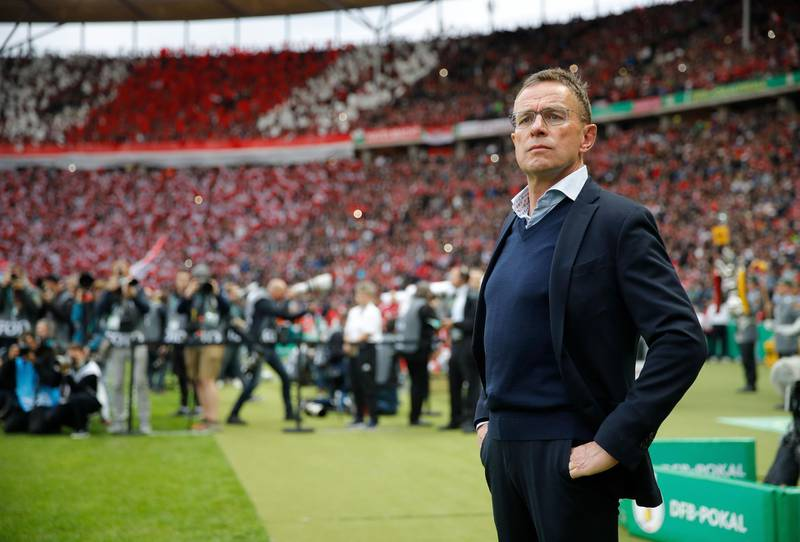Leipzig's German headcoach Ralf Rangnick attends the German Cup (DFB Pokal) Final football match RB Leipzig v FC Bayern Munich at the Olympic Stadium in Berlin on May 25, 2019. (Photo by Odd ANDERSEN / AFP) / DFB REGULATIONS PROHIBIT ANY USE OF PHOTOGRAPHS AS IMAGE SEQUENCES AND QUASI-VIDEO.