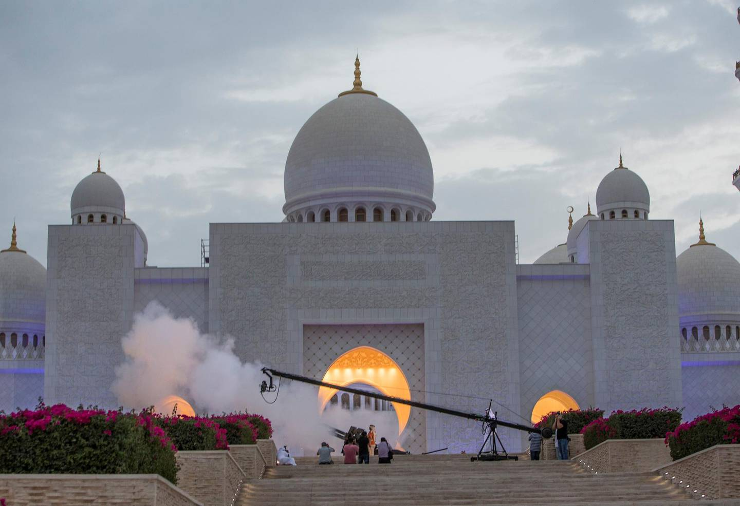 ABU DHABI, UNITED ARAB EMIRATES, 17 May 2018 -Cannon fired to end the fasting at Sheikh Zayed Grand Mosque, Abu Dhabi. Leslie Pableo for The National