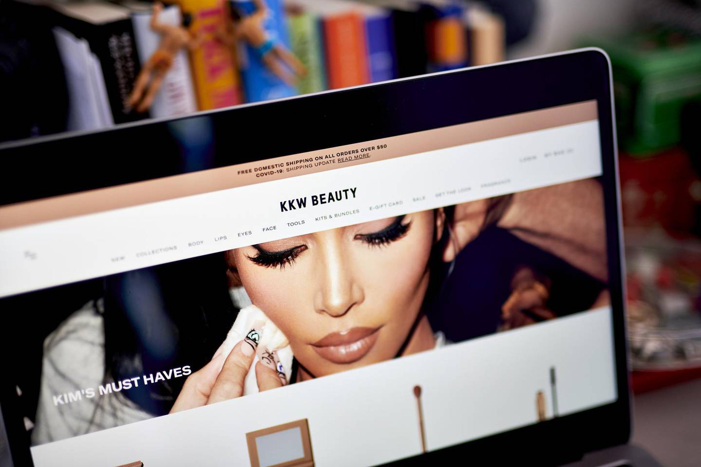 The KKW Beauty website on a laptop computer arranged in the Brooklyn borough of New York, U.S., on Friday, April 23, 2021. Coty Inc. is nearing the launch of Kim Kardashian's skincare line SKKN. Coty will not be using her current trademark, KKW. Kardashian, who has also gone by Kim Kardashian West, filed for divorce from hip-hop superstar Kanye West earlier this year. Photographer: Gabby Jones/Bloomberg