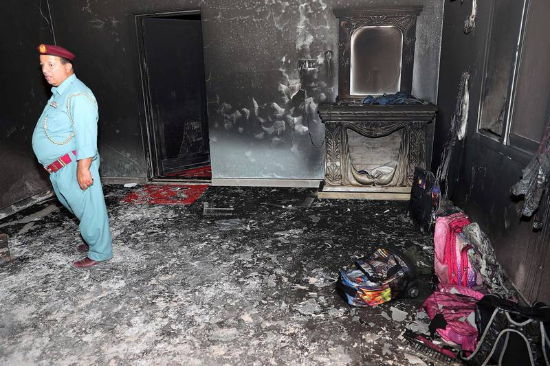 FUJAIRAH , UNITED ARAB EMIRATES , JAN 22 – 2018 :- Inside view of the house where seven Emirati children four girls and three boys died of smoke inhalation on Monday morning house fire at Rul Dhadna village in Fujairah.  (Pawan Singh / The National) For News. Story by Ruba Haza