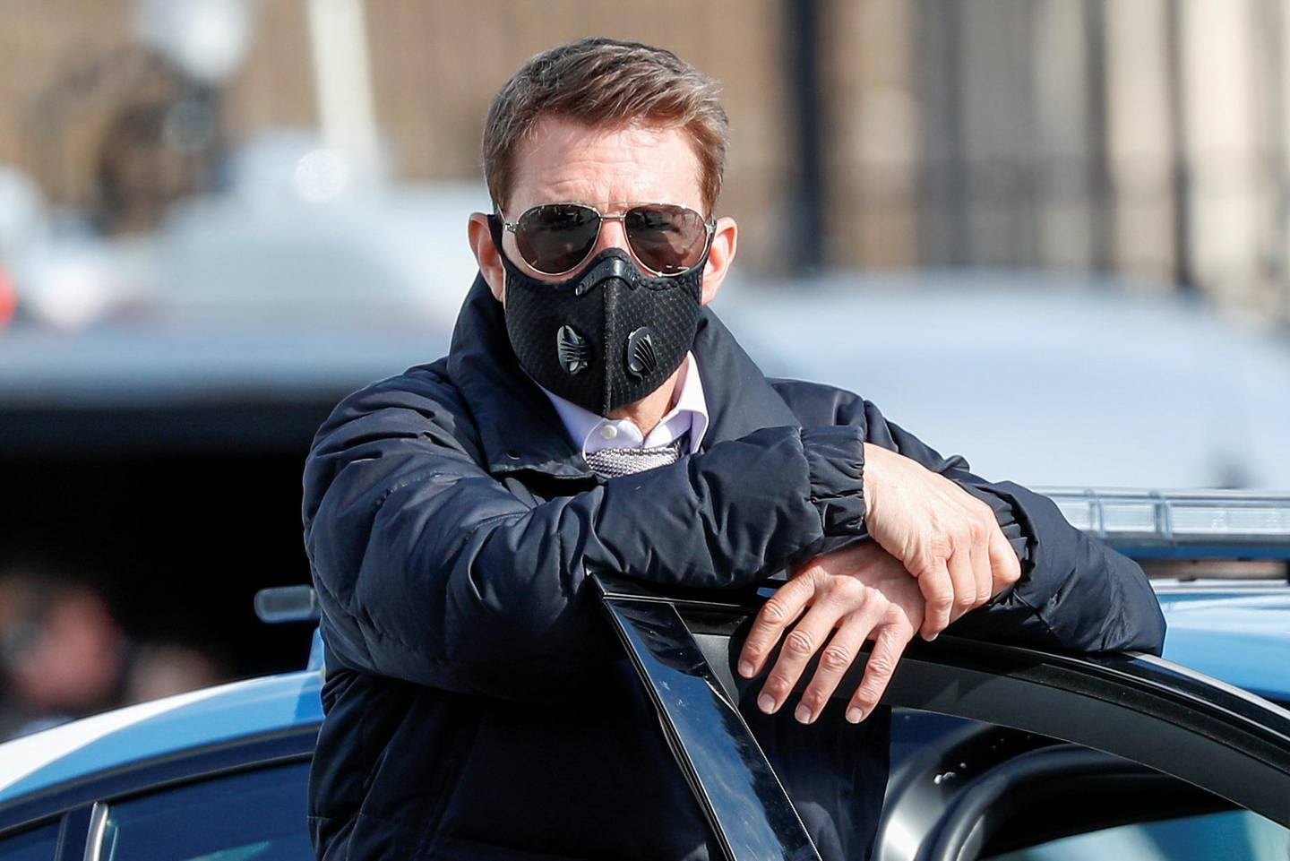 """FILE PHOTO: Actor Tom Cruise is seen on the set of """"Mission Impossible 7"""" while filming in Rome, Italy October 13, 2020. REUTERS/Guglielmo Mangiapane/File Photo"""
