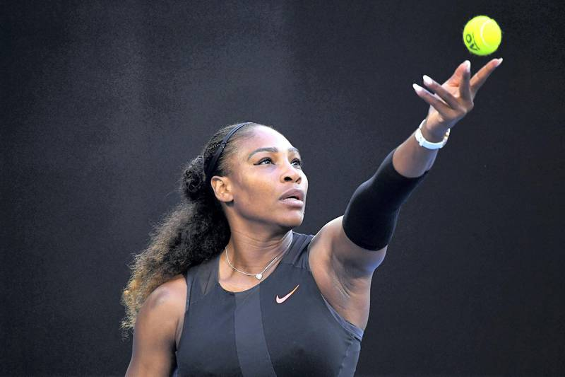 MELBOURNE, AUSTRALIA - JANUARY 28:  Serena Williams of the United States serves in her Women's Singles Final match against Venus Williams of the United States on day 13 of the 2017 Australian Open at Melbourne Park on January 28, 2017 in Melbourne, Australia.  (Photo by Quinn Rooney/Getty Images)