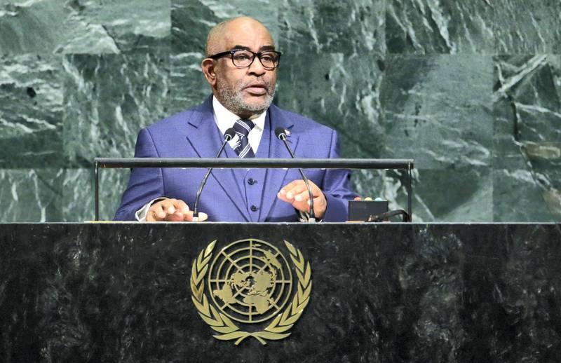 Comoros President Azali Assoumani addresses the 72nd United Nations General Assembly at U.N. headquarters in New York, U.S., September 21, 2017. REUTERS/Eduardo Munoz - HP1ED9L1J5V9O