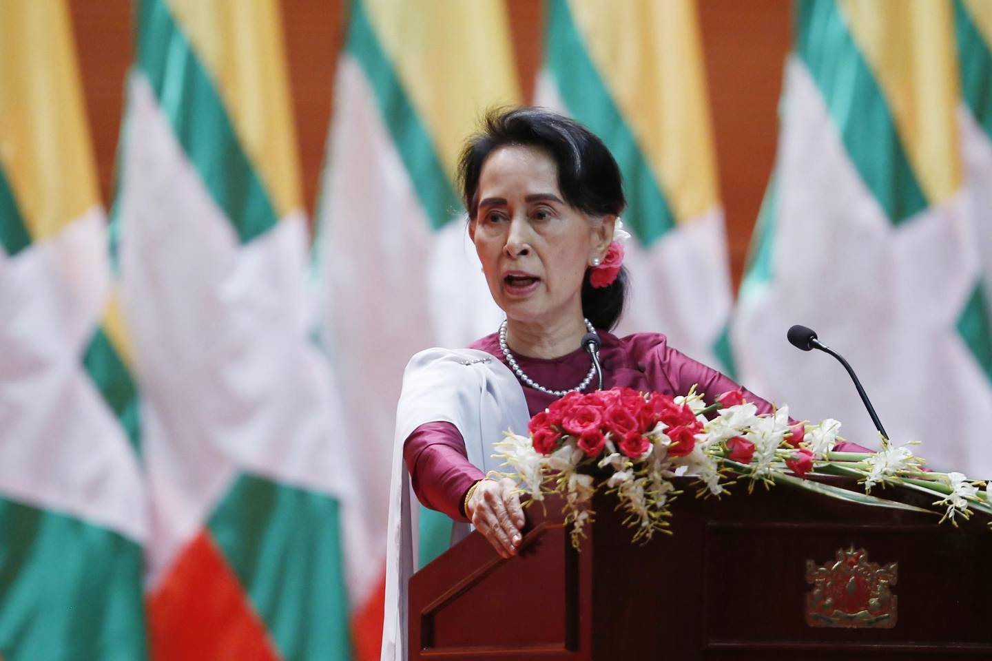 epa06213002 Myanmar's State Counselor Aung San Suu Kyi gives a speech on the Myanmar government's efforts with regard to national reconciliation and peace in Naypyitaw, Myanmar, 19 September 2017. Suu Kyi used to speech to address national reconcilliation and peace efforts in Myanmar in the 18 months that the nation has been under civilian rule. The Myanmar military has been under increased international scrutiny due to the refugee crisis in Bangladesh caused by ethnic Rohingya fleeing violence in Myanmar's Rakhine state due to a security crackdown. Authorities estimate that over 400,000 Rohingya have fled the violence in Rakhine State.  EPA/HEIN HTET