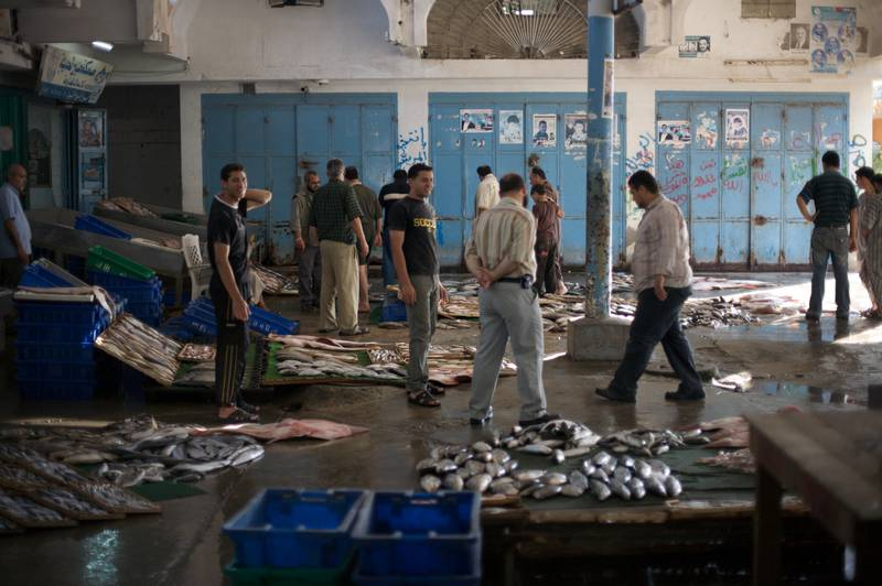 Gaza Port fish market. Making a living from fishing has become almost impossible for Gazan Fishermen. The Israeli navy has restricted fishing to within three nautical miles (approximately 5.5km) of shore.