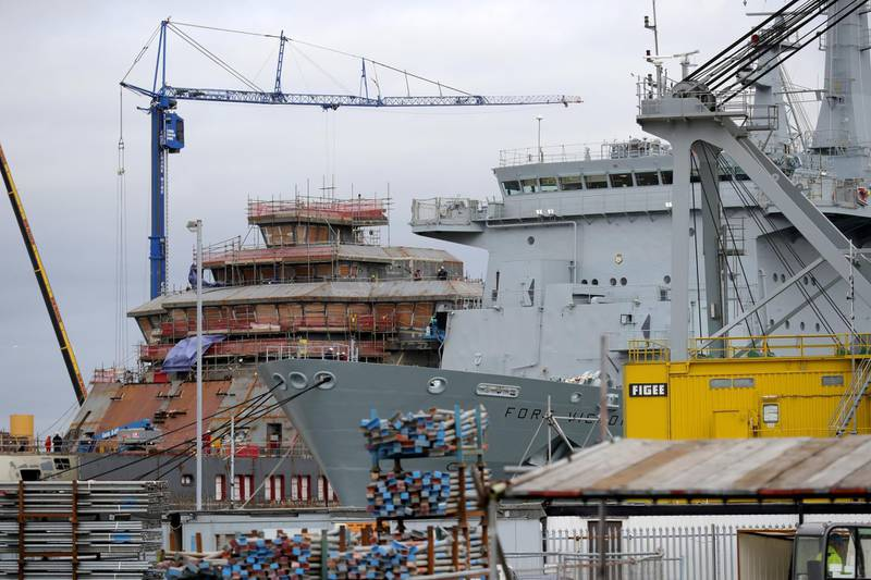 WIRRAL, MERSEYSIDE - OCTOBER 08: RFA Fort Victoria undergoes maintenance as it stands in the dock of Cammell Laird Shipbuilders on October 08, 2018 in Wirral, Merseyside. Cammell Laird is one of three shipyards sharing a GBP 1 billion Royal Navy mainteneance contract. The deals covers 17 ships to be maintained in Birkenhead, Falmouth and Tyneside. (Photo by Christopher Furlong/Getty Images)