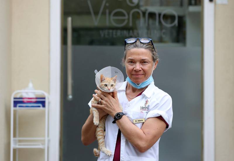 """Dubai, United Arab Emirates - Reporter: N/A: UAE Heroes. Dr Valerie Battistella aged 48 from France is a vet for Vienna veterinary clinic. She said """"We wear masks, wash our hands frequently and sanitise anything in the clinic. We also get information from the patience before they come in and then practice social distancing. The public have been surprised that we are open but also very very grateful"""". Thursday, March 26th, 2020. Jumeirah, Dubai. Chris Whiteoak / The National"""