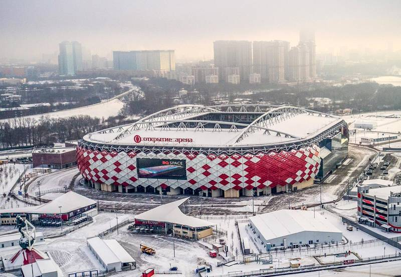 An aerial view taken in Moscow on January 24, 2018 shows the Spartak Stadium. The 45.000 seats Spartak Stadium is one of the venues of the 2018 FIFA World Cup football tournament. / AFP PHOTO / Dmitry Serebryakov