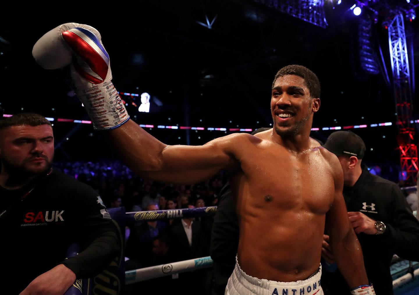 LONDON, ENGLAND - SEPTEMBER 22:  Anthony Joshua celebrates victory after the IBF, WBA Super, WBO & IBO World Heavyweight Championship title fight between Anthony Joshua and Alexander Povetkin at Wembley Stadium on September 22, 2018 in London, England.  (Photo by Richard Heathcote/Getty Images)