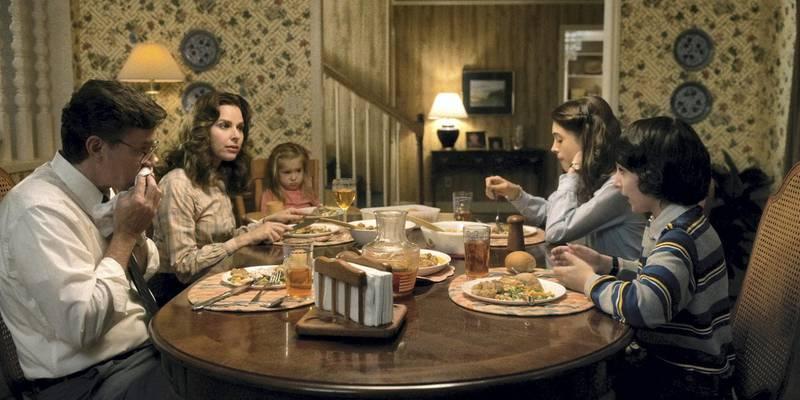 Finn Wolfhard, Cara Buono, Natalia Dyer in Stranger Things. Courtesy of Netflix